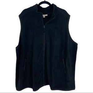 Woman Within Black Full Zip Fleece Vest w/ Pockets